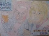 Rab C and his beautiful wife Marydoll. work in progress. oct by The Meek, Glasgow Cowboy., Drawing