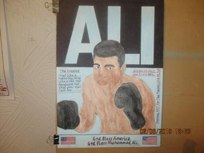 Ali The Greatest 5, May 2018, HS, FJ 49. by The Meek, Glasgow Cowboy., Painting, Mixed Media