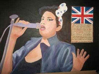 Amy Winehouse Singer/Songwriter. AMY 4, 2015?, IP HS.FJ 11. by Glasgow Cowboy, Painting, Oil on Board