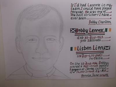 Celtic,s Bobby Lennox, June 2014, HS and DL, For JEHOVAH 5. by Glasgow Cowboy, Drawing
