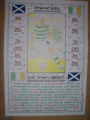 Celtic,s Scott Brown. Feb 2012, T103. by Glasgow Cowboy, Drawing, Pastel on Paper