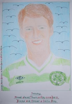 Celtic,s Tommy Burns, No 5, May 2013, IPCU RLP. by Glasgow Cowboy, Painting, Pastel & Ink