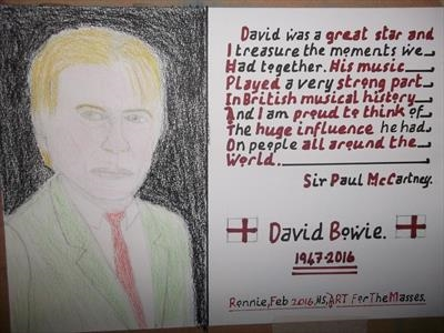 David Bowie 1, Feb 2016, HS, For JEHOVAH 21. by Glasgow Cowboy, Drawing, Pastel on Paper