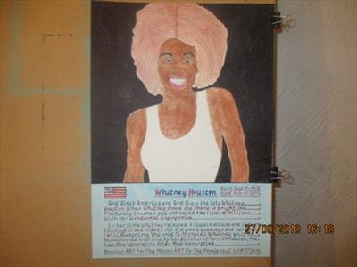 The Great Whitney Houston 2. Sept 2018, HS, For JEHOVAH 50. by The Meek, Glasgow Cowboy., Painting, Mixed Media on paper